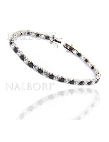 Woman's bracelet in 925 Sterling Silver Tennis model With black and white 4 mm 17.5 cm cubic zirconia jaws