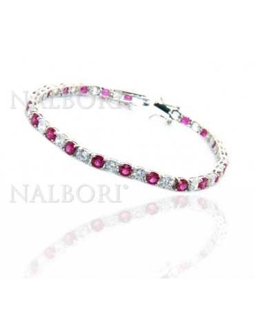 Woman's bracelet in 925 Sterling Silver Tennis model With rubin red and white 4 mm 17.5 cm cubic zirconia jaws