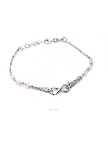 Bracciale uomo donna Argento 925 lavorazione a rosario cristallo rosa chiaro con 1 elemento infinito 15,00 -17,50 cm