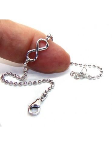 Bracciale uomo donna Argento 925 catena a palline da 2 mm e 1 elemento infinito 17,50-20,50 cm