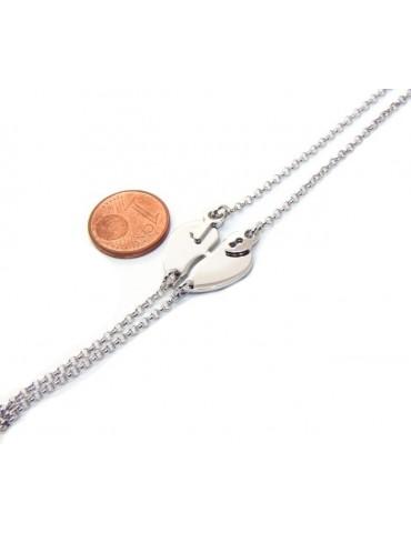 Bracciale doppio LUI e LEI uomo donna in Argento 925 cuore spezzato grande da spezzare lucchetto chiave
