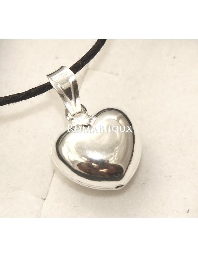 Argento 925 : Pendente cuore piccolo bombato con laccio catena collana