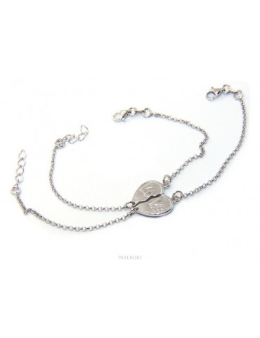 Double bracelet HIM and HER man woman in Sterling Silver broken heart written LOVE