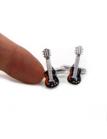 Gemelli Uomo chitarra elettrica per camicia in Argento 925 smalto nero realizzati a mano