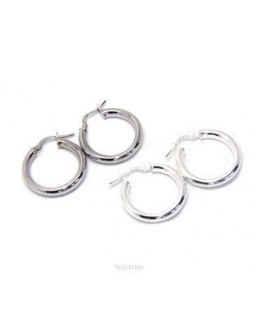 silver earrings 925 sterling silver 21.5 mm 2 colors smooth brooches hoop