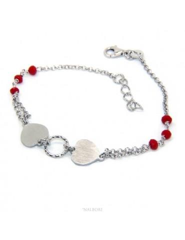 Bracciale uomo donna Argento 925 cristallo rosso con doppio cuore satinato e cerchio diamantato 18,00 - 20,50 cm