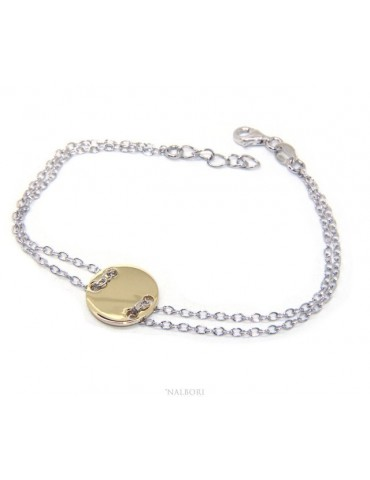 647/5000 Bracelet man woman 925 Sterling Silver with central button yellow gold plate 17,00 - 20.00 cm