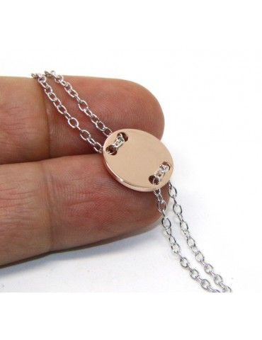 Bracciale uomo donna Argento 925 con bottone centrale bagno oro rosa 17,00 - 20,00 cm