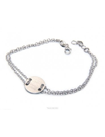 647/5000 Bracelet man woman 925 Sterling Silver with central button white gold plate 17,00 - 20.00 cm