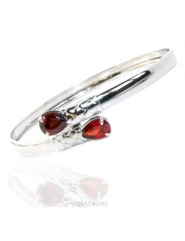 SILVER 925: Woman slave bracelet open contrarie rose zircon drop 2 griffe