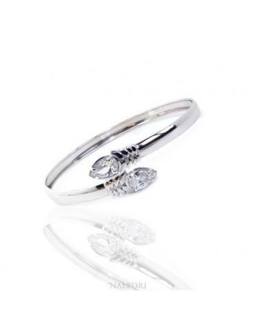 SILVER 925: Woman slave bracelet open contrarie 'white zircon drop 4 griffe