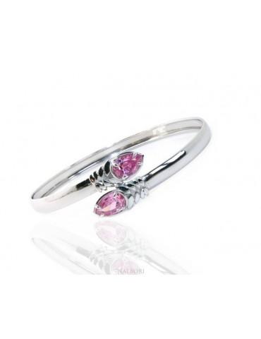 SILVER 925: Woman slave bracelet open contrarie rose zircon drop 4 griffe