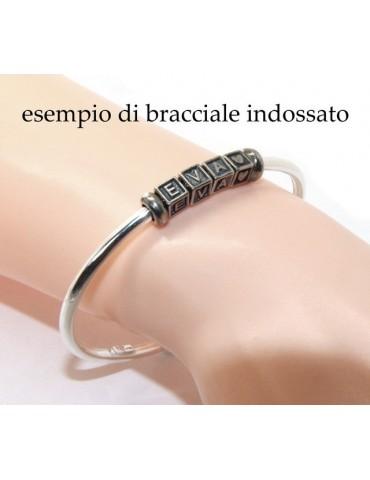 ARGENTO 925 : Bracciale donna uomo CHARME chiusura brevettata ovale - Nalbori componibili - con 2 STOP 4 lettere ROSY