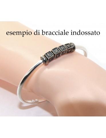 ARGENTO 925 : Bracciale donna uomo CHARME chiusura brevettata ovale - Nalbori componibili - con 2 STOP 5 lettere MARIA