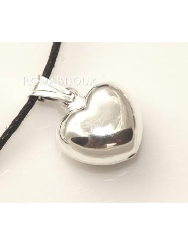 Argento 925 : Pendente cuore medio  bombato con laccio catena collana