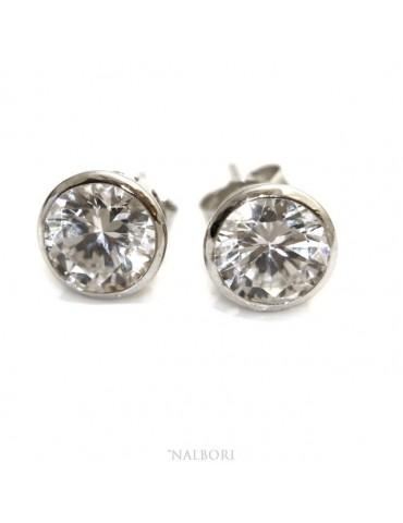 Silver 925: earrings woman man large onion 8 mm cubic zirconia