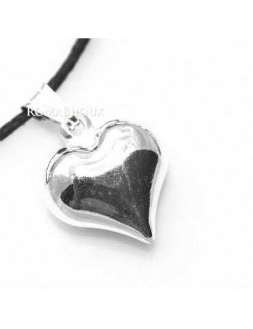 Argento 925 : Pendente cuore medio a punta con laccio catena collana