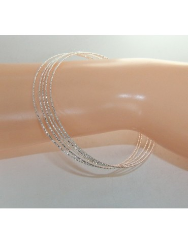 Argento 925 Bracciale bangle donna cerchi diamantati 5 pezzi