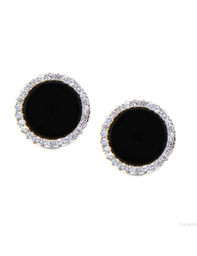 l'atteggiamento migliore 10571 bd2fc orecchini uomo donna cerchio bottone nero zircone bianco grande