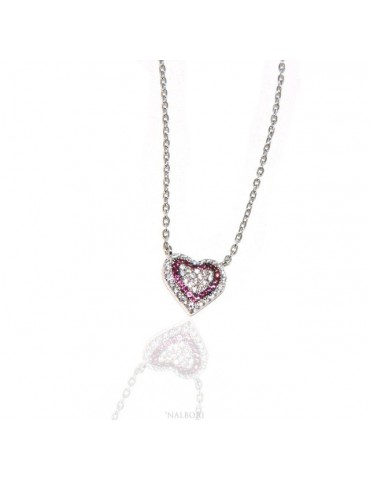 Necklace woman necklace SILVER 925 with heart pendant pavé micro white stones and rubin red