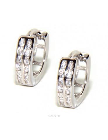 Argento 925 orecchini uomo donna cerchio anelle boccole con 2 file di zirconi 13mm