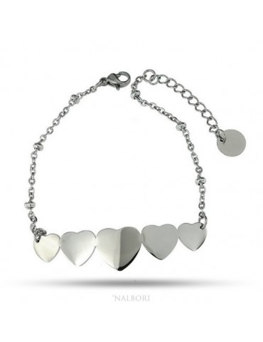 bracelet woman anallergic steel with central 5 hearts