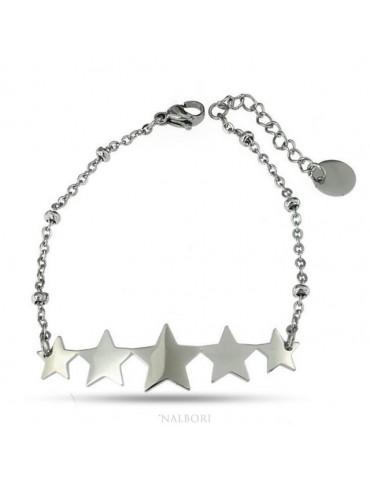 bracciale donna acciaio anallergico con centrale 5 stelle