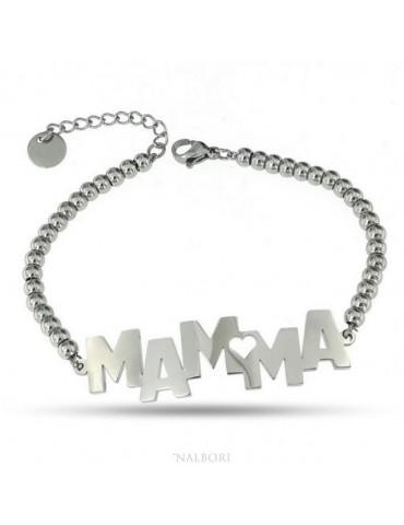 NALBORI bracciale donna acciaio anallergico palline con lastra MAMMA e cuore
