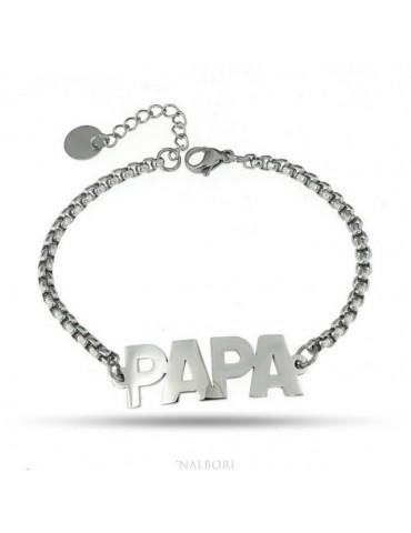 bracciale acciaio scritta papa