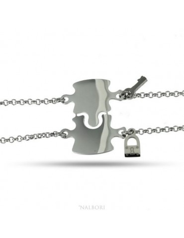 bracciale acciaio anallergico doppio lui lei puzzle lucchetto chiave