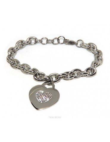 bracciale donna acciaio anallergico catena con pendente cuore pave' zirconi