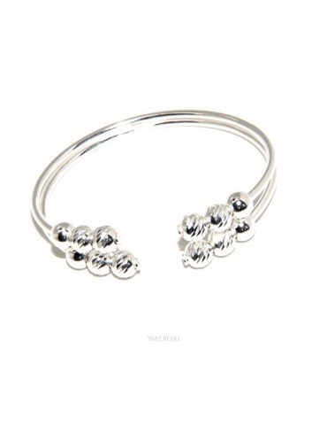 SILVER 925: Bracelet female open slave double opposed 'faceted balls