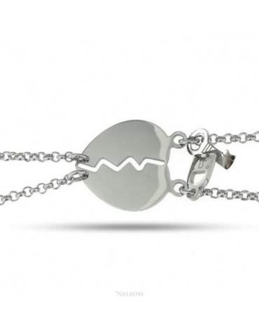 bracciale acciaio anallergico doppio lui lei cuore lucchetto chiave