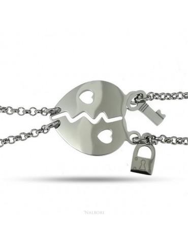 bracciale acciaio anallergico doppio lui lei cuore traforato lucchetto chiave