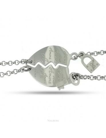 """bracciale acciaio anallergico doppio lui lei cuore scritta """"amore"""" lucchetto chiave"""
