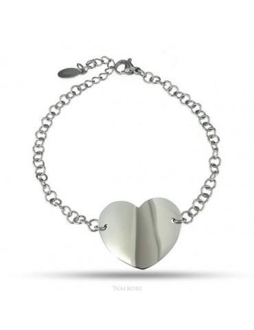 bracciale acciaio anallergico rolo' con grande cuore al centro