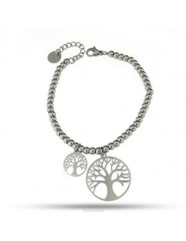 bracelet anallergic steel balls with tree of life pendant