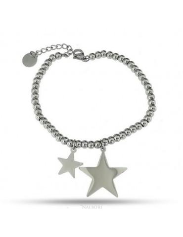 bracciale acciaio anallergico palline con ciondolo stella e stellina