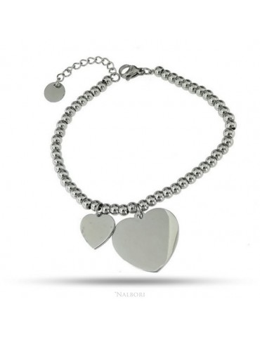 bracelet anallergic steel balls with big and small heart pendant
