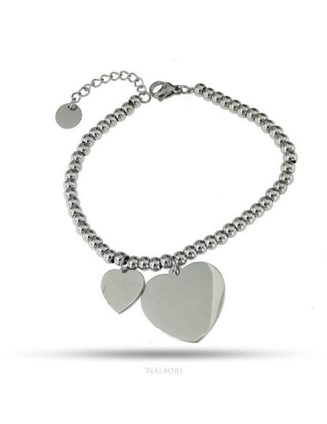 bracciale acciaio anallergico palline con ciondolo cuore grande e piccolo