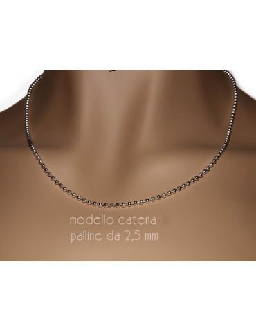 ARGENTO 925 : Girocollo collana pallini palline balls 2,5 mm varie lunghezze modello chiaro sbiancato