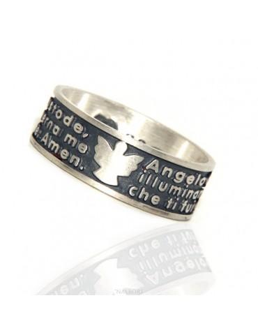 Silver 925 ring for men women band prayer Angel of God Italian Mistika series by Nalbori ®