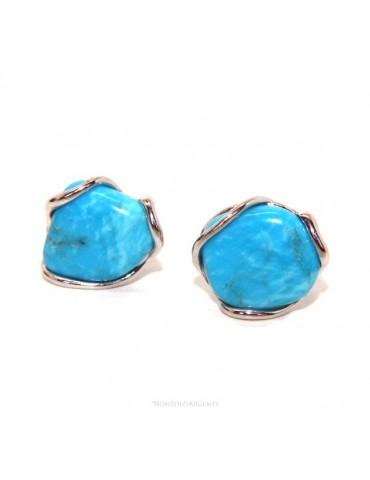 Orecchini in Argento 925 a bottone con gemma non calibrata turchese naturale vero azzurro