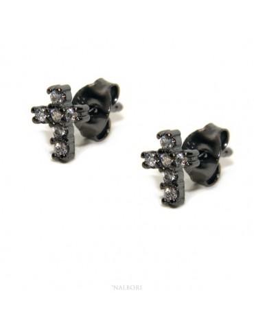 Orecchini per uomo o donna a forma di croce in argento 925 rutenio con pietre zirconia cubica colore bianco piccoli