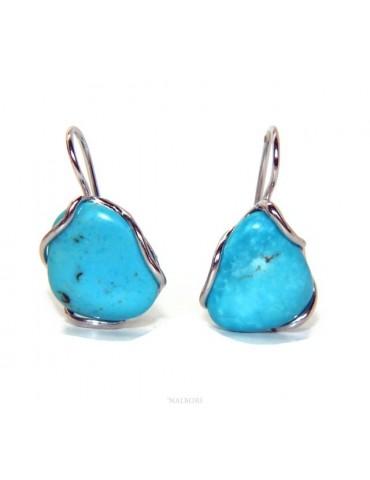 Orecchini in Argento 925 a a goccia con gemma non calibrata turchese naturale vero azzurro