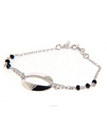 Bracelet woman girl Silver 925 rosary working black crystal with central oval 15.5 - 18 cm