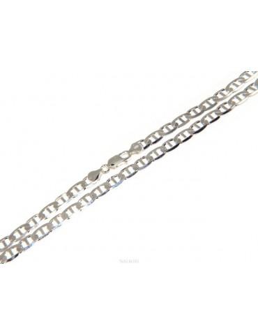 ARGENTO 925 : Collana o Bracciale uomo maglia marina traversino 7 x 13 mm massiccia piena diamantata