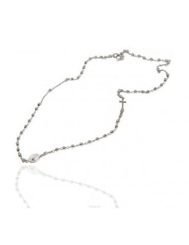Collana rosario uomo o donna in Argento 925 palline 3 mm croce madonna miracolosa rodio