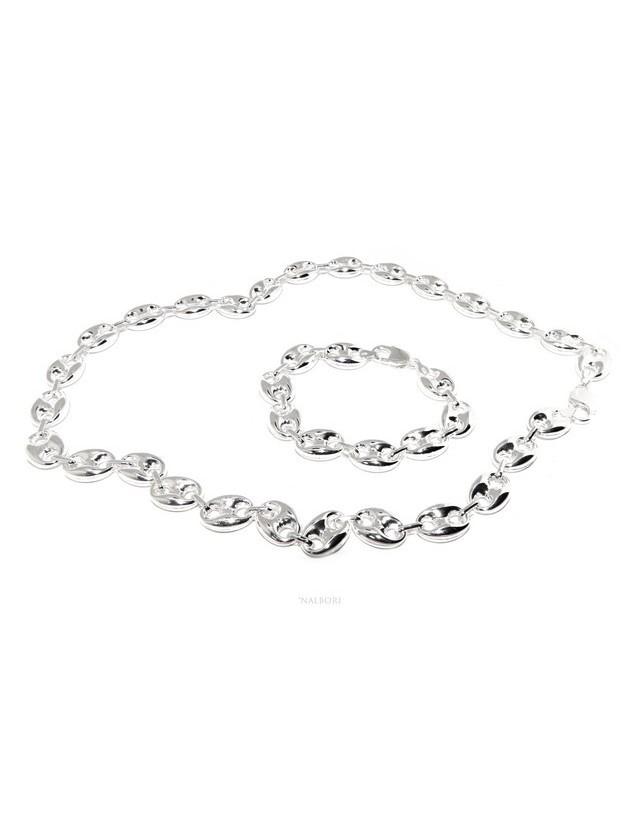 ARGENTO 925 : Completo parure collana + Bracciale donna maglia marina 18 x 13 mm grande