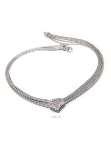 Argento 925 : Collana girocollo da donna fox tail 5 fili con nodo semplice piatto